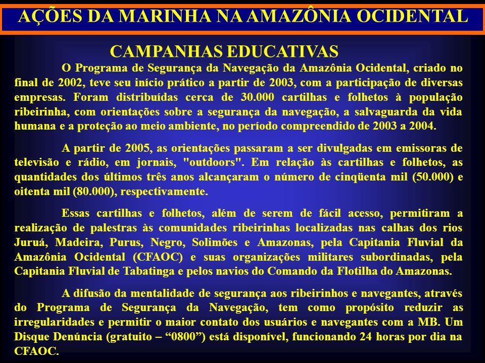 CAMPANHAS EDUCATIVAS O Programa de Segurança da Navegação da Amazônia Ocidental, criado no final de 2002, teve seu início prático a partir de 2003, co