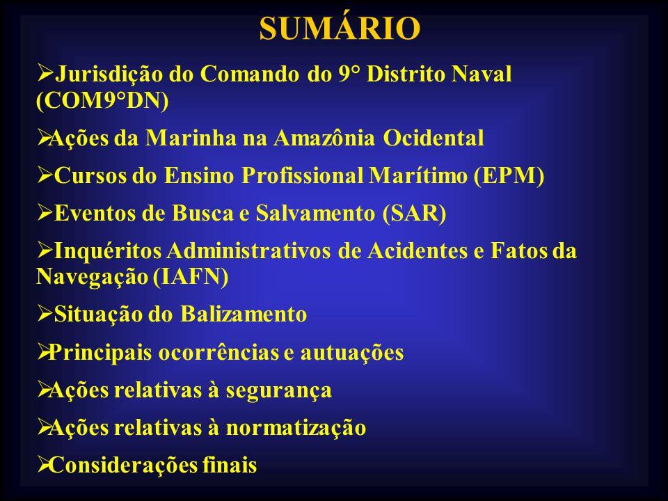 SUMÁRIO Jurisdição do Comando do 9° Distrito Naval (COM9°DN) Ações da Marinha na Amazônia Ocidental Cursos do Ensino Profissional Marítimo (EPM) Event