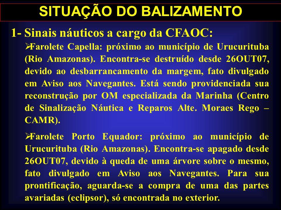 1- Sinais náuticos a cargo da CFAOC: Farolete Capella: próximo ao município de Urucurituba (Rio Amazonas). Encontra-se destruído desde 26OUT07, devido
