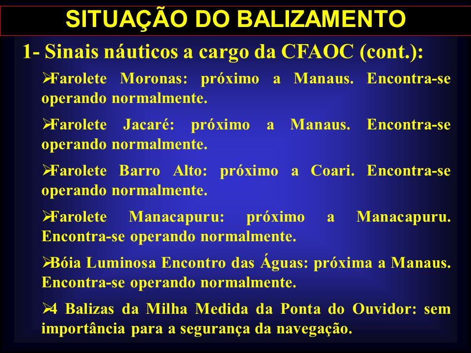 SITUAÇÃO DO BALIZAMENTO 1- Sinais náuticos a cargo da CFAOC (cont.): Farolete Moronas: próximo a Manaus. Encontra-se operando normalmente. Farolete Ja