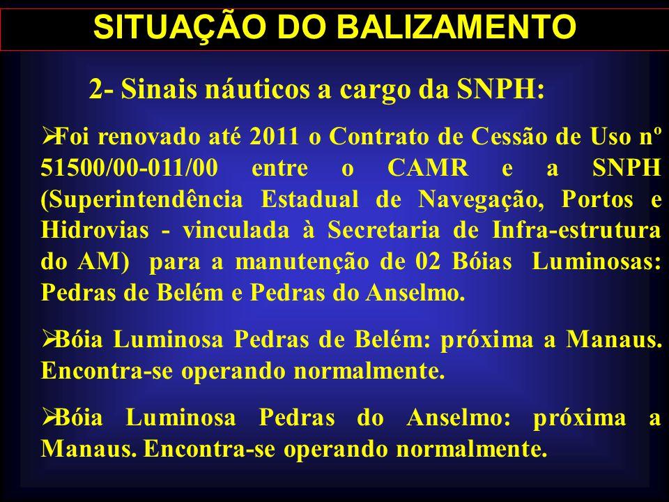 SITUAÇÃO DO BALIZAMENTO 2- Sinais náuticos a cargo da SNPH: Foi renovado até 2011 o Contrato de Cessão de Uso nº 51500/00-011/00 entre o CAMR e a SNPH