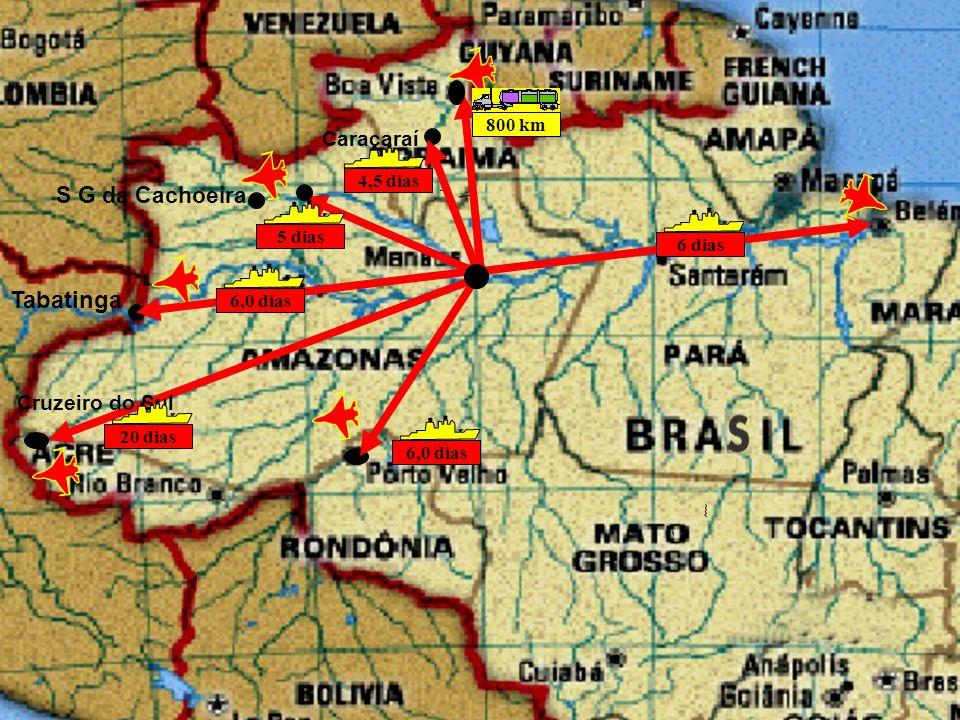 Tabatinga Caracaraí 6 dias 6,0 dias 4,5 dias S G da Cachoeira 5 dias 800 km Cruzeiro do Sul 20 dias 6,0 dias