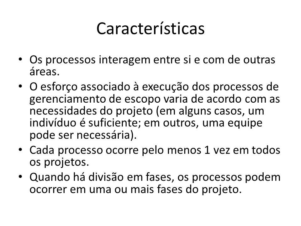 Características Os processos interagem entre si e com de outras áreas. O esforço associado à execução dos processos de gerenciamento de escopo varia d