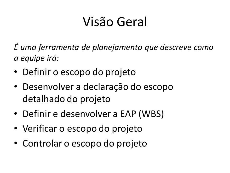 Visão Geral É uma ferramenta de planejamento que descreve como a equipe irá: Definir o escopo do projeto Desenvolver a declaração do escopo detalhado do projeto Definir e desenvolver a EAP (WBS) Verificar o escopo do projeto Controlar o escopo do projeto