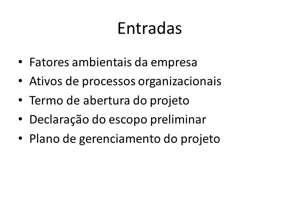 Entradas Fatores ambientais da empresa Ativos de processos organizacionais Termo de abertura do projeto Declaração do escopo preliminar Plano de gerenciamento do projeto