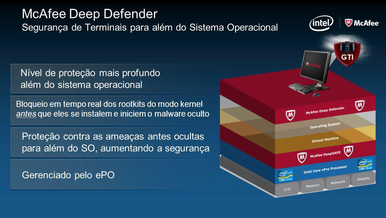 McAfee Deep Defender Segurança de Terminais para além do Sistema Operacional Bloqueio em tempo real dos rootkits do modo kernel antes que eles se inst