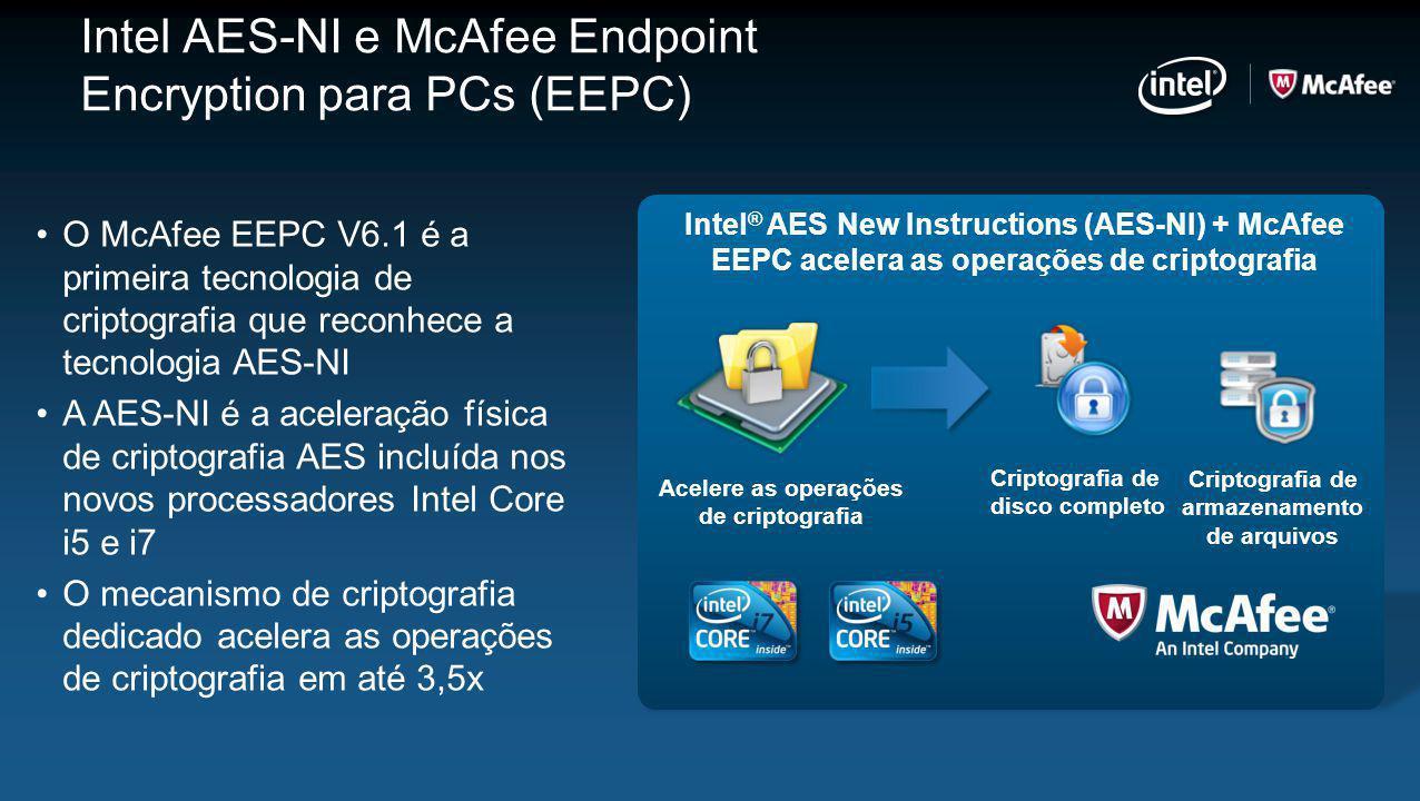 O McAfee EEPC V6.1 é a primeira tecnologia de criptografia que reconhece a tecnologia AES-NI A AES-NI é a aceleração física de criptografia AES incluí