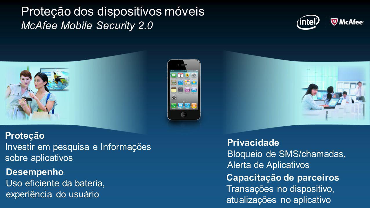 Proteção dos dispositivos móveis McAfee Mobile Security 2.0 Proteção Investir em pesquisa e Informações sobre aplicativos Desempenho Uso eficiente da