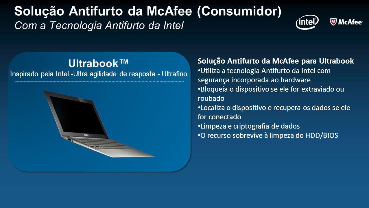 Solução Antifurto da McAfee para Ultrabook Utiliza a tecnologia Antifurto da Intel com segurança incorporada ao hardware Bloqueia o dispositivo se ele