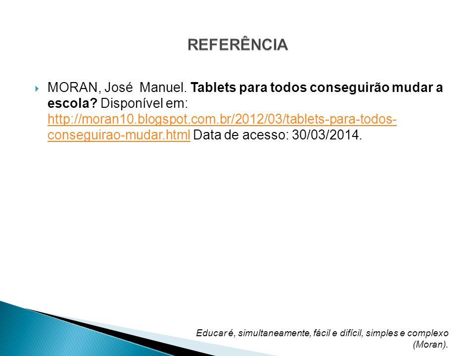 MORAN, José Manuel.Tablets para todos conseguirão mudar a escola.