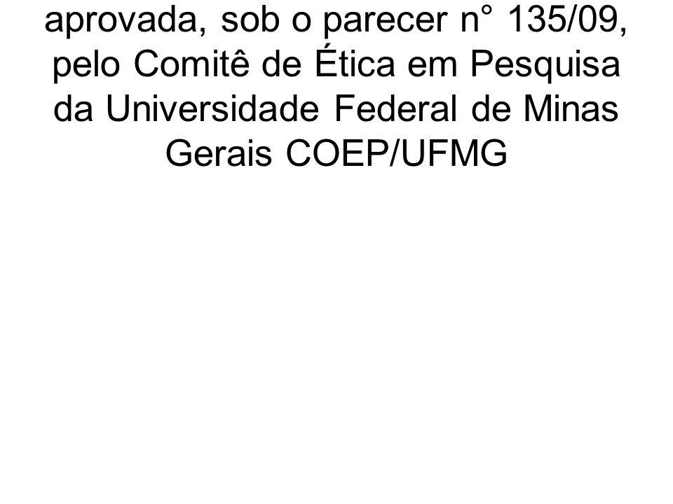 A presente pesquisa foi analisada e aprovada, sob o parecer n° 135/09, pelo Comitê de Ética em Pesquisa da Universidade Federal de Minas Gerais COEP/U