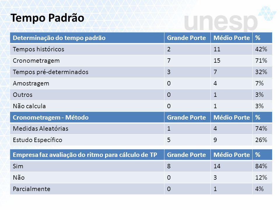 Determinação do tempo padrãoGrande PorteMédio Porte% Tempos históricos21142% Cronometragem71571% Tempos pré-determinados3732% Amostragem047% Outros013