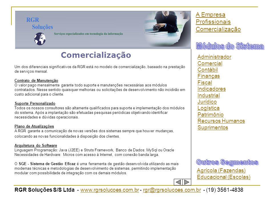 RGR Soluções S/S Ltda - www.rgrsolucoes.com.br - rgr@rgrsolucoes.com.br - (19) 3561-4838www.rgrsolucoes.com.brrgr@rgrsolucoes.com.br Comercialização U