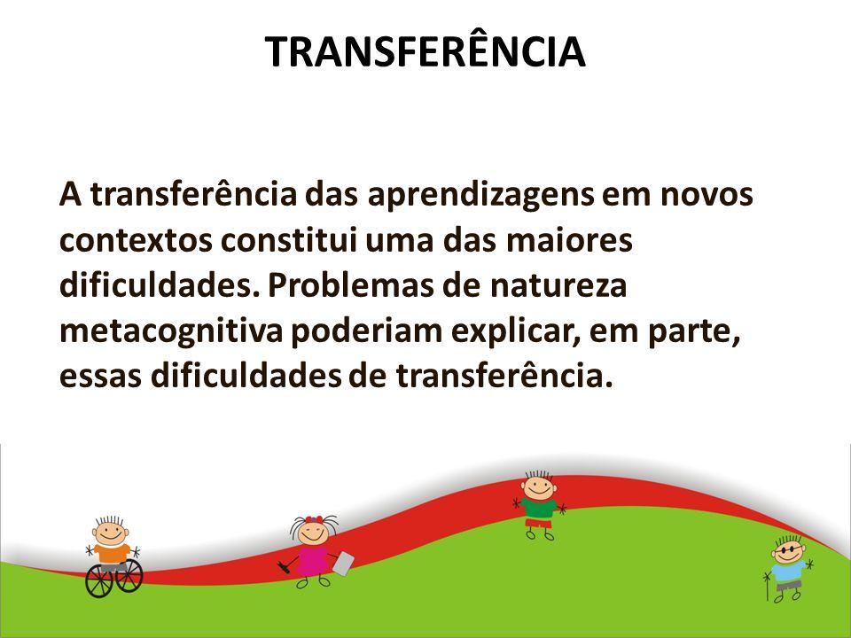 TRANSFERÊNCIA A transferência das aprendizagens em novos contextos constitui uma das maiores dificuldades. Problemas de natureza metacognitiva poderia