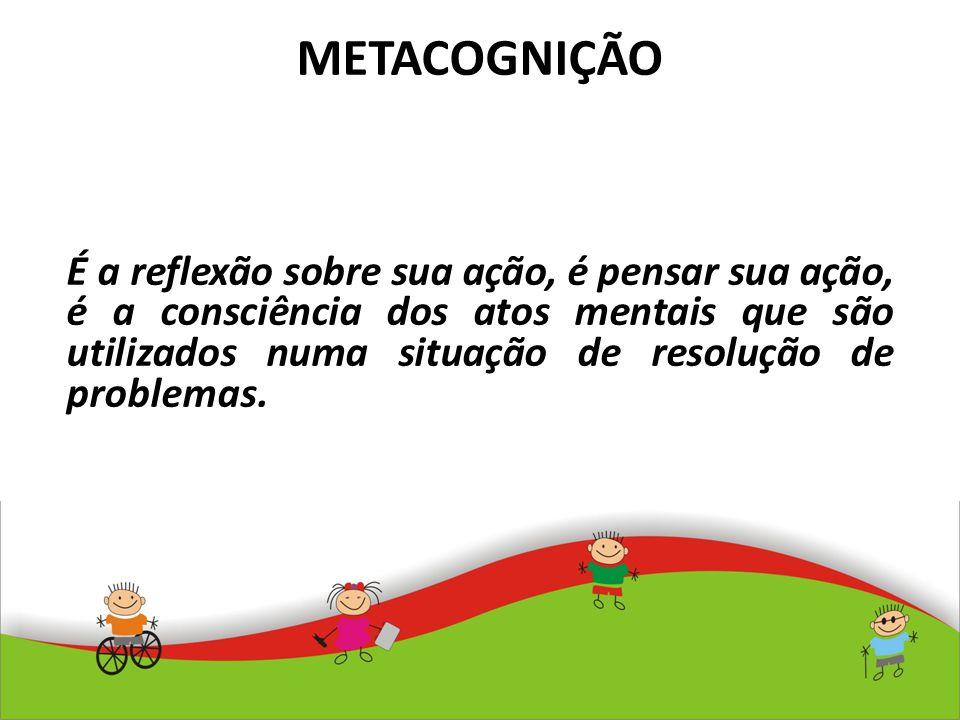 METACOGNIÇÃO É a reflexão sobre sua ação, é pensar sua ação, é a consciência dos atos mentais que são utilizados numa situação de resolução de problem