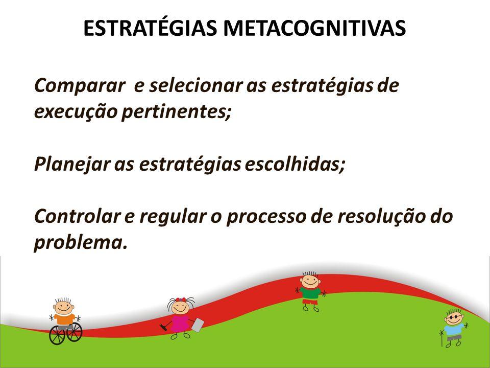 ESTRATÉGIAS METACOGNITIVAS Comparar e selecionar as estratégias de execução pertinentes; Planejar as estratégias escolhidas; Controlar e regular o pro