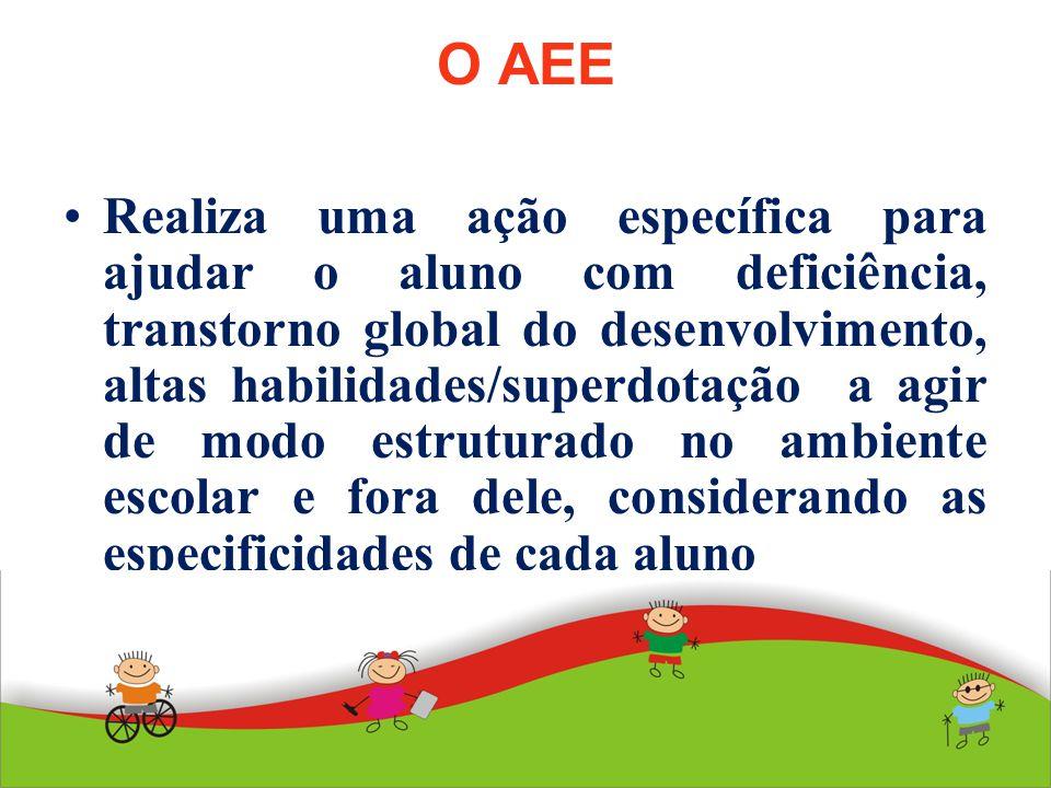 O AEE Realiza uma ação específica para ajudar o aluno com deficiência, transtorno global do desenvolvimento, altas habilidades/superdotação a agir de