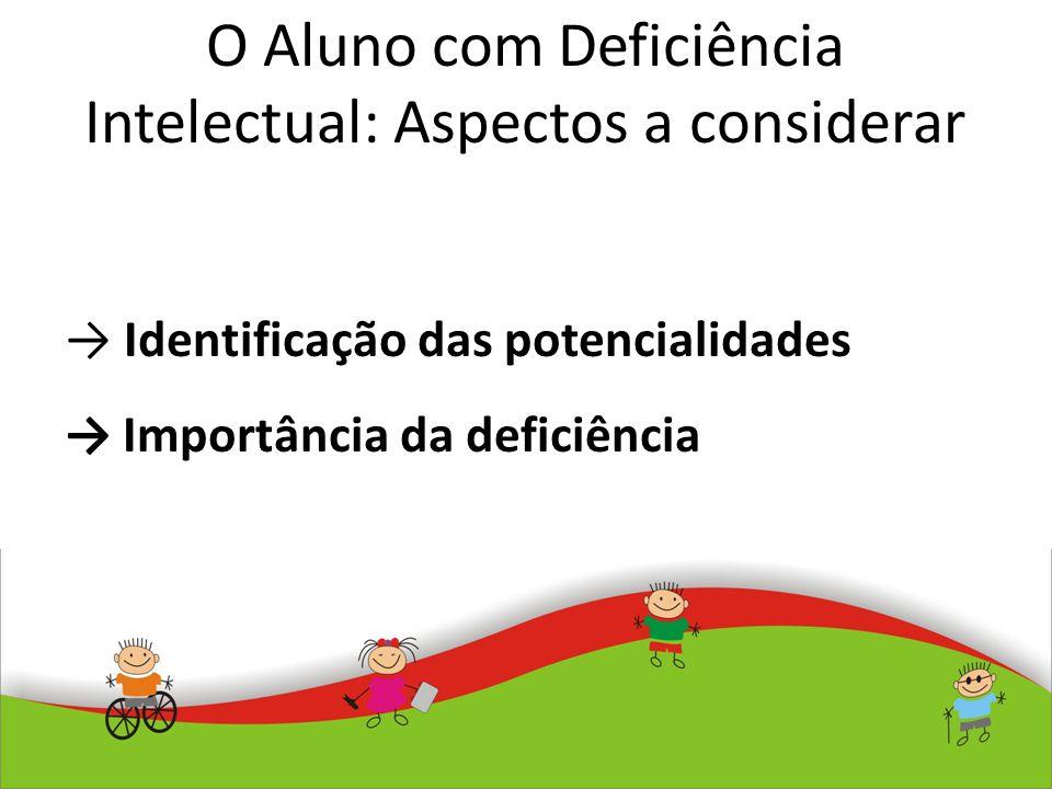 O Aluno com Deficiência Intelectual: Aspectos a considerar Identificação das potencialidades Importância da deficiência