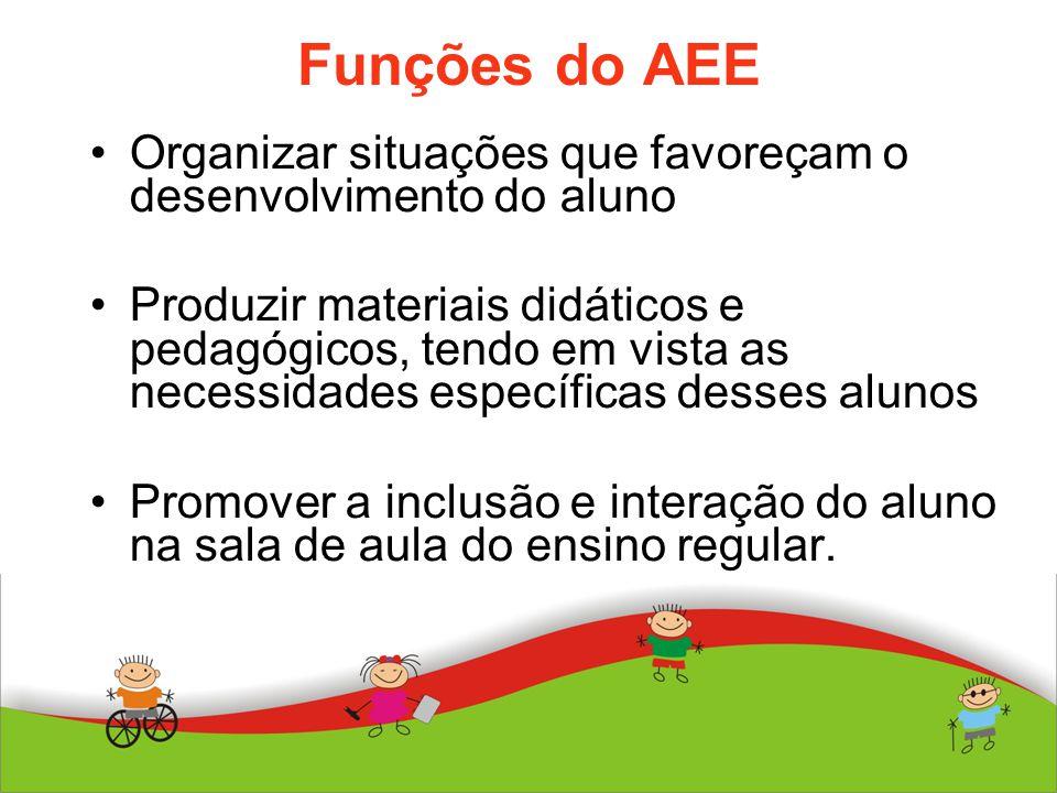 Funções do AEE Organizar situações que favoreçam o desenvolvimento do aluno Produzir materiais didáticos e pedagógicos, tendo em vista as necessidades