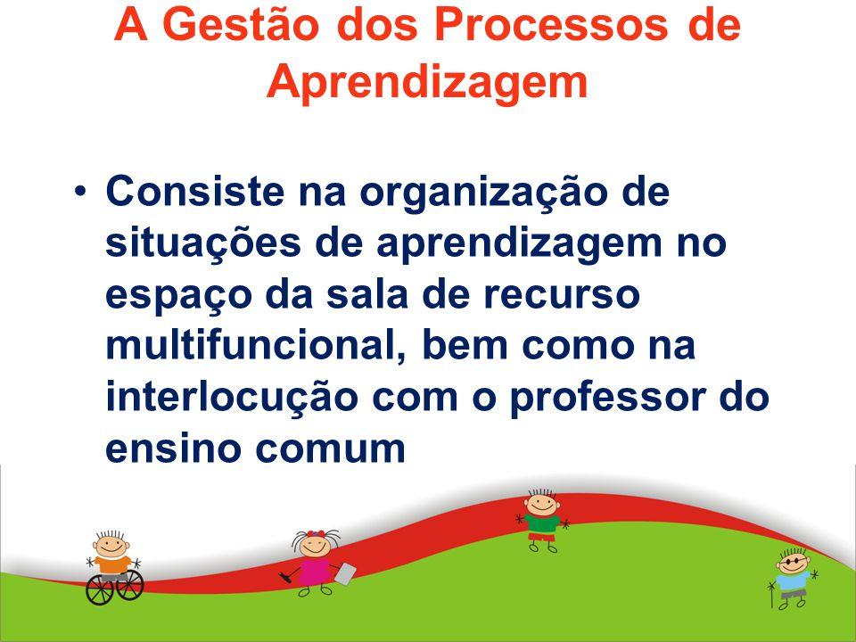 A Gestão dos Processos de Aprendizagem Consiste na organização de situações de aprendizagem no espaço da sala de recurso multifuncional, bem como na i