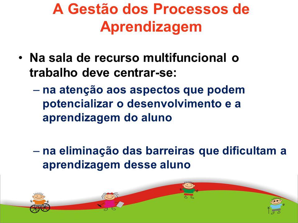 A Gestão dos Processos de Aprendizagem Na sala de recurso multifuncional o trabalho deve centrar-se: –na atenção aos aspectos que podem potencializar