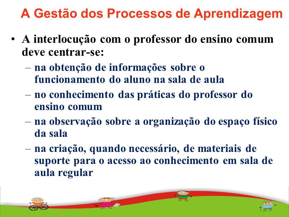 A Gestão dos Processos de Aprendizagem A interlocução com o professor do ensino comum deve centrar-se: –na obtenção de informações sobre o funcionamen