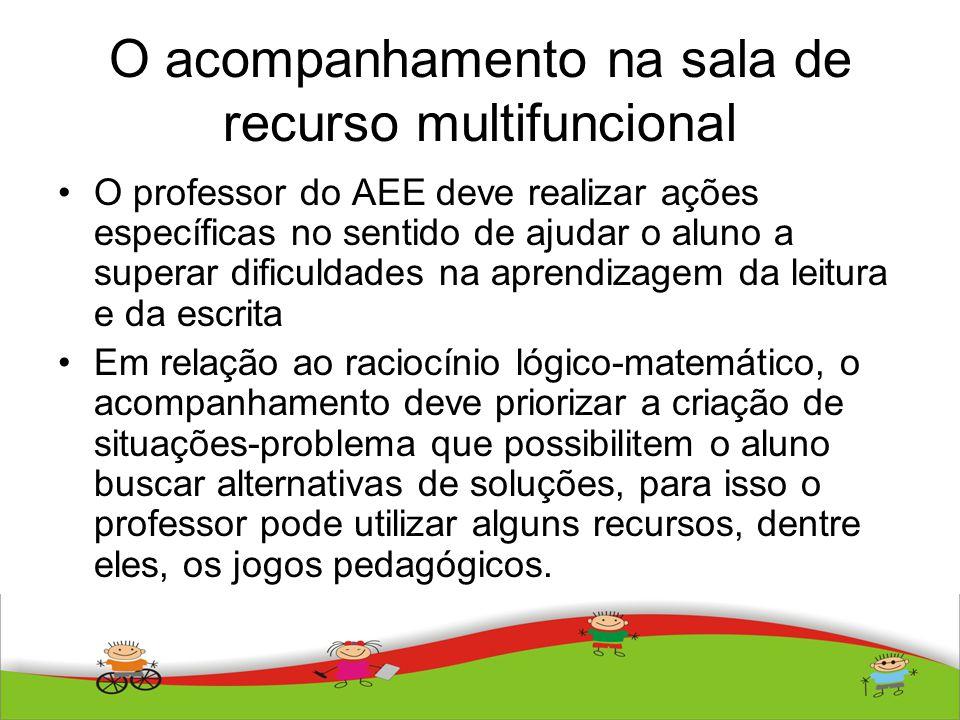 O acompanhamento na sala de recurso multifuncional O professor do AEE deve realizar ações específicas no sentido de ajudar o aluno a superar dificulda