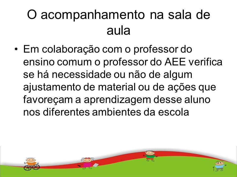 O acompanhamento na sala de aula Em colaboração com o professor do ensino comum o professor do AEE verifica se há necessidade ou não de algum ajustame