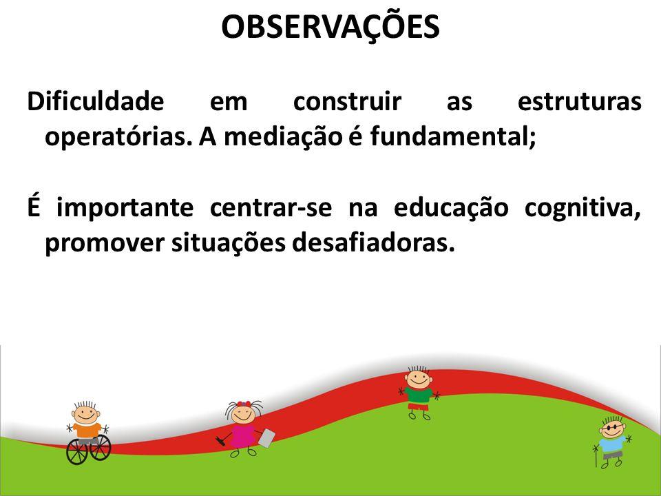 OBSERVAÇÕES Dificuldade em construir as estruturas operatórias. A mediação é fundamental; É importante centrar-se na educação cognitiva, promover situ