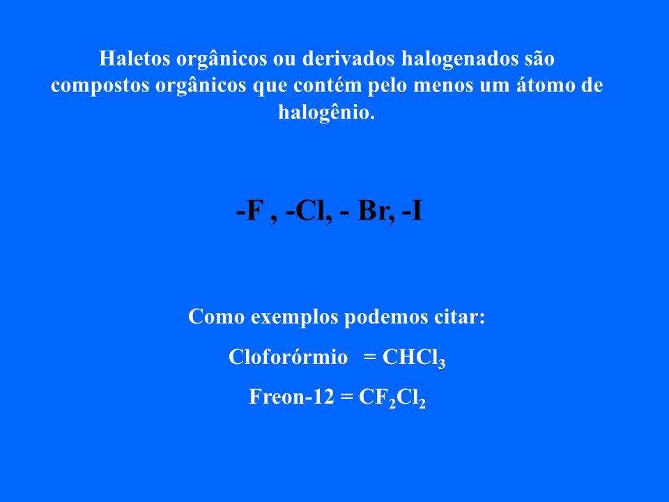 Haletos orgânicos ou derivados halogenados são compostos orgânicos que contém pelo menos um átomo de halogênio.