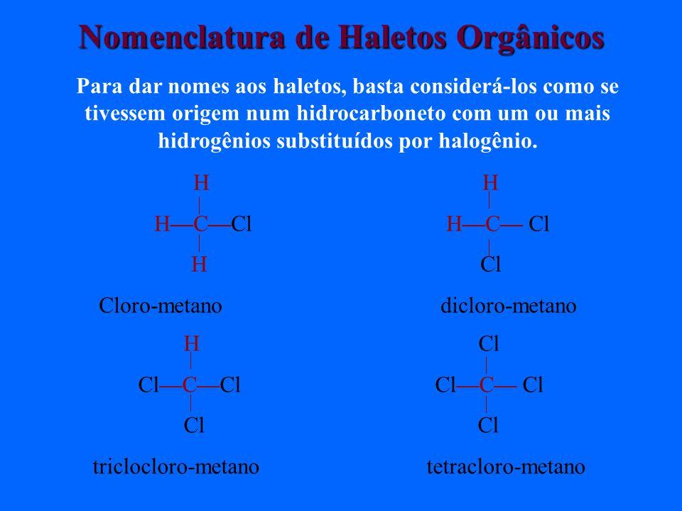 Nomenclatura de Haletos Orgânicos Para dar nomes aos haletos, basta considerá-los como se tivessem origem num hidrocarboneto com um ou mais hidrogênios substituídos por halogênio.