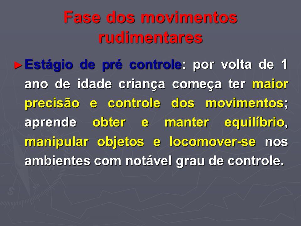 Fase dos movimentos rudimentares Estágio de pré controle: por volta de 1 ano de idade criança começa ter maior precisão e controle dos movimentos; apr