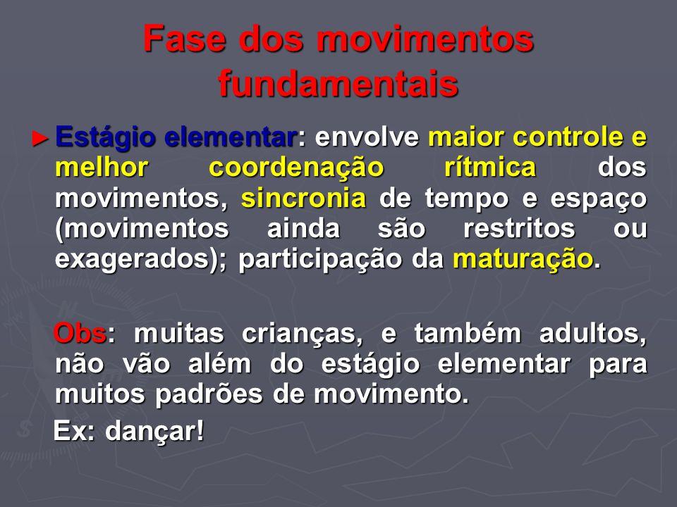Fase dos movimentos fundamentais Estágio elementar: envolve maior controle e melhor coordenação rítmica dos movimentos, sincronia de tempo e espaço (m