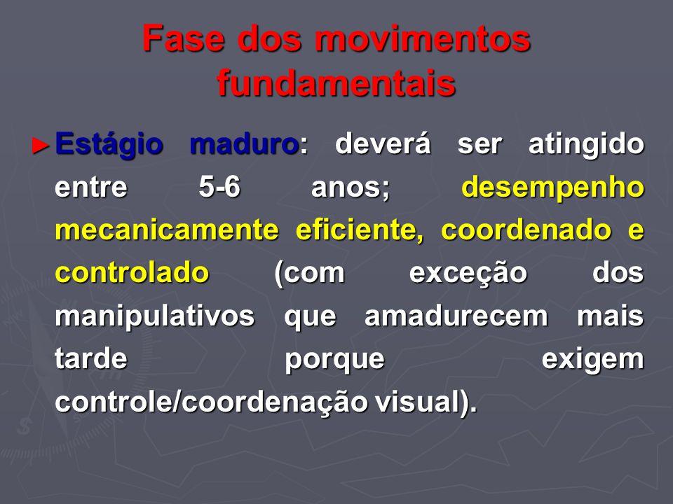 Fase dos movimentos fundamentais Estágio maduro: deverá ser atingido entre 5-6 anos; desempenho mecanicamente eficiente, coordenado e controlado (com