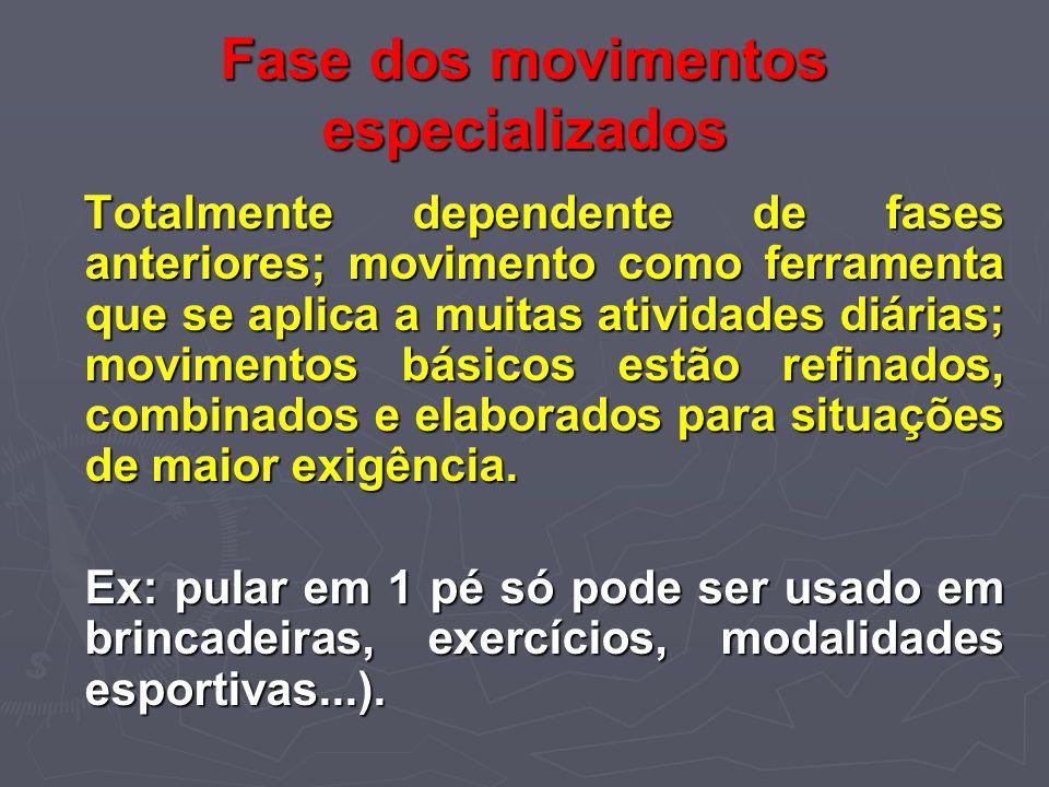 Fase dos movimentos especializados Totalmente dependente de fases anteriores; movimento como ferramenta que se aplica a muitas atividades diárias; mov