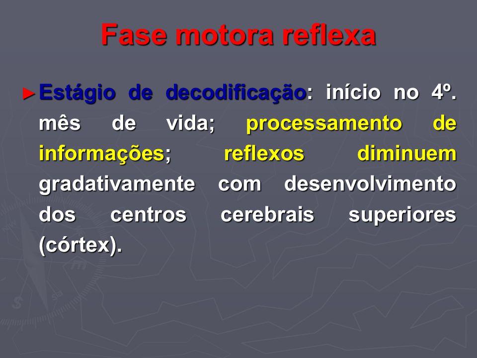 Fase motora reflexa Estágio de decodificação: início no 4º. mês de vida; processamento de informações; reflexos diminuem gradativamente com desenvolvi