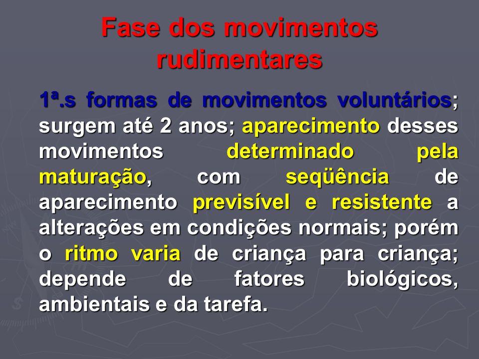 Fase dos movimentos rudimentares 1ª.s formas de movimentos voluntários; surgem até 2 anos; aparecimento desses movimentos determinado pela maturação,