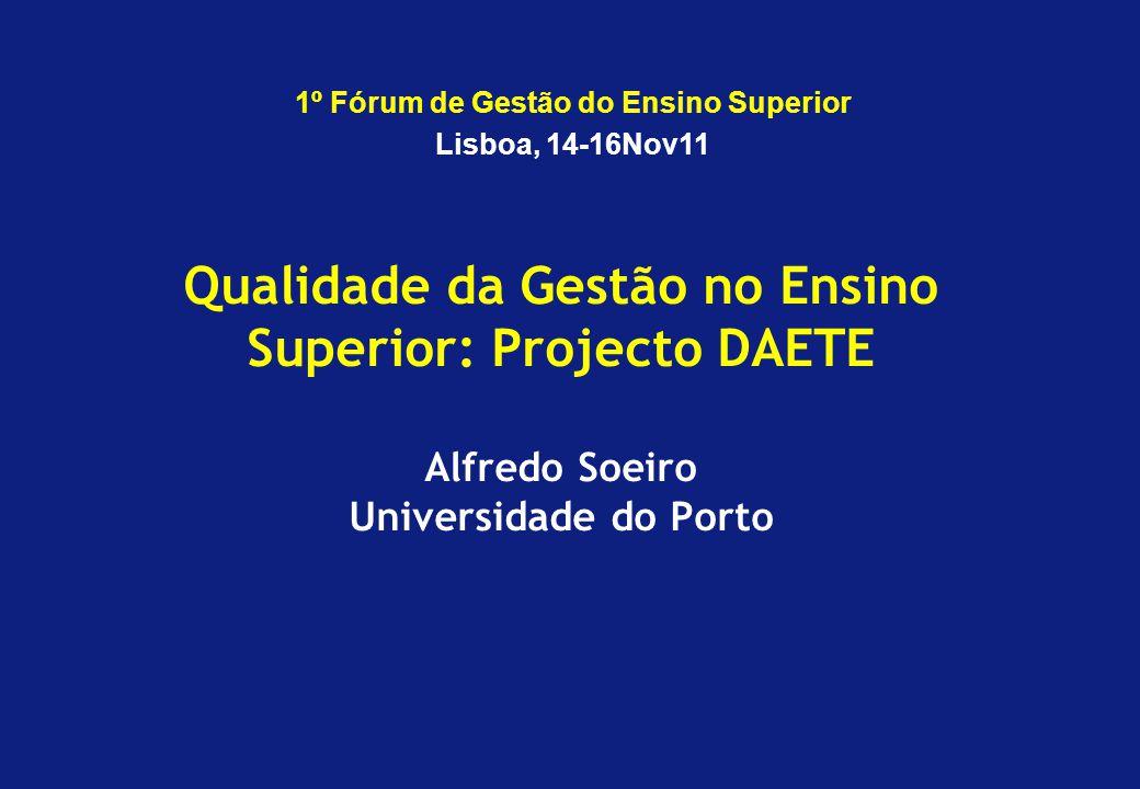Qualidade da Gestão no Ensino Superior: Projecto DAETE Alfredo Soeiro Universidade do Porto 1º Fórum de Gestão do Ensino Superior Lisboa, 14-16Nov11