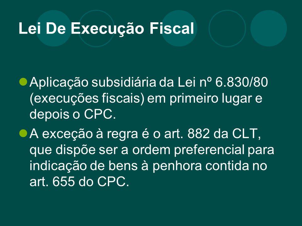Lei De Execução Fiscal Aplicação subsidiária da Lei nº 6.830/80 (execuções fiscais) em primeiro lugar e depois o CPC. A exceção à regra é o art. 882 d
