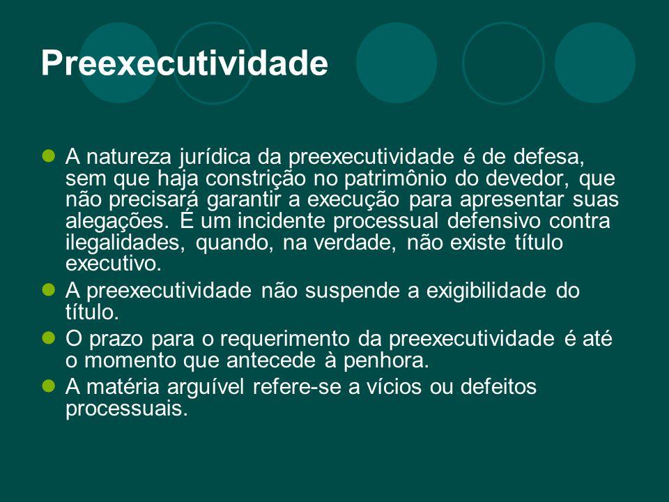 Preexecutividade A natureza jurídica da preexecutividade é de defesa, sem que haja constrição no patrimônio do devedor, que não precisará garantir a execução para apresentar suas alegações.