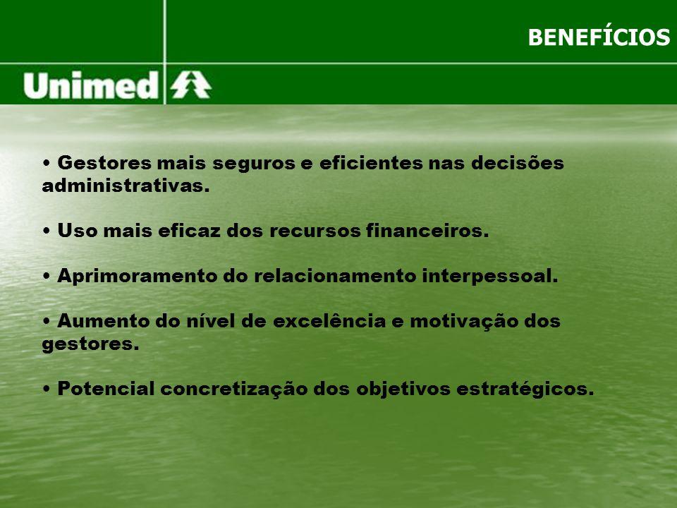 BENEFÍCIOS Gestores mais seguros e eficientes nas decisões administrativas. Uso mais eficaz dos recursos financeiros. Aprimoramento do relacionamento