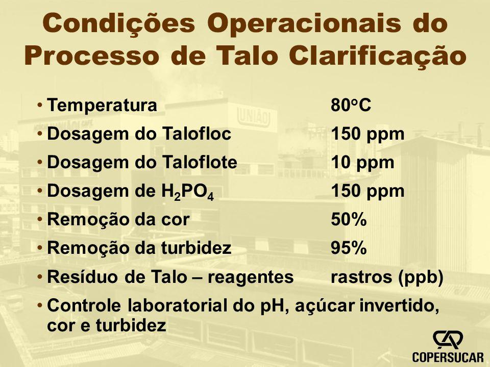 Condições Operacionais do Processo de Talo Clarificação Temperatura80 o C Dosagem do Talofloc150 ppm Dosagem do Taloflote10 ppm Dosagem de H 2 PO 4 15