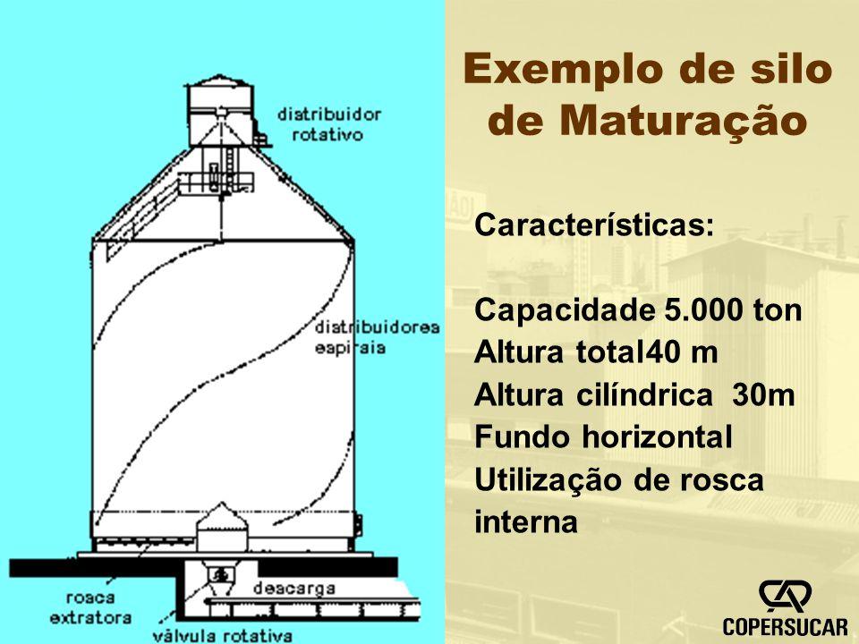Exemplo de silo de Maturação Características: Capacidade 5.000 ton Altura total40 m Altura cilíndrica30m Fundo horizontal Utilização de rosca interna