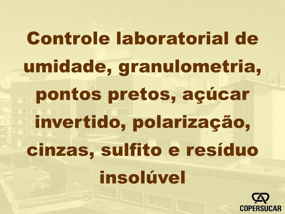 Controle laboratorial de umidade, granulometria, pontos pretos, açúcar invertido, polarização, cinzas, sulfito e resíduo insolúvel