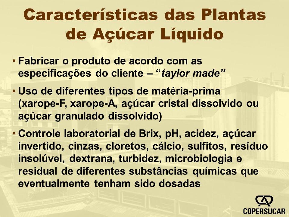 Características das Plantas de Açúcar Líquido Fabricar o produto de acordo com as especificações do cliente – taylor made Uso de diferentes tipos de m