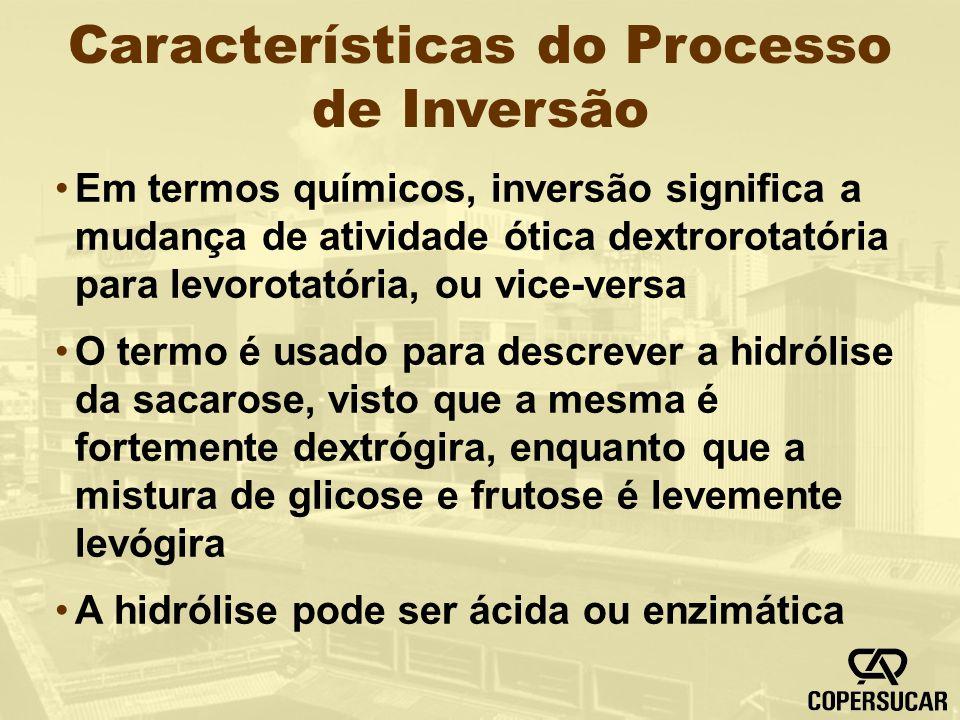 Características do Processo de Inversão Em termos químicos, inversão significa a mudança de atividade ótica dextrorotatória para levorotatória, ou vic