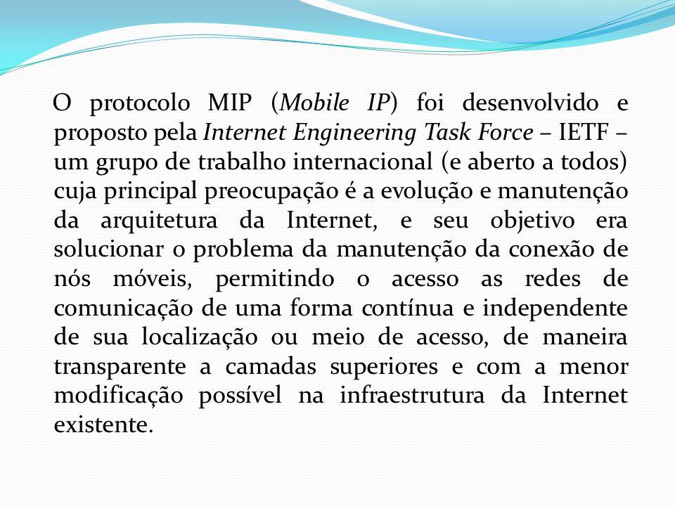 O protocolo MIP (Mobile IP) foi desenvolvido e proposto pela Internet Engineering Task Force – IETF – um grupo de trabalho internacional (e aberto a t