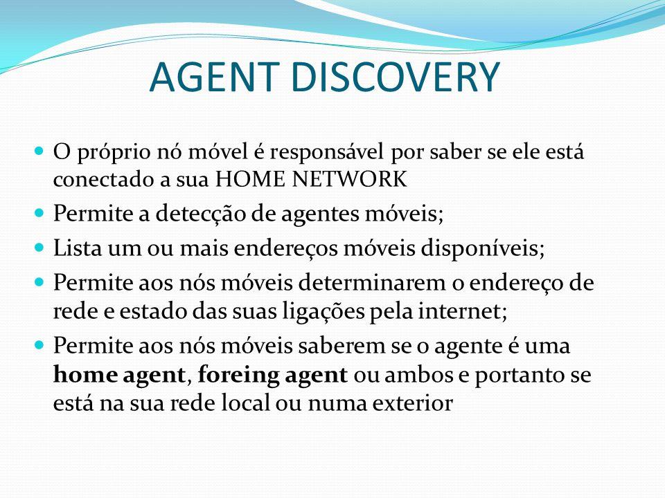 AGENT DISCOVERY O próprio nó móvel é responsável por saber se ele está conectado a sua HOME NETWORK Permite a detecção de agentes móveis; Lista um ou