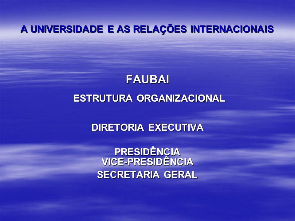 A UNIVERSIDADE E AS RELAÇÕES INTERNACIONAIS FAUBAI ESTRUTURA ORGANIZACIONAL ESTRUTURA ORGANIZACIONAL DIRETORIA EXECUTIVA PRESIDÊNCIAVICE-PRESIDÊNCIA SECRETARIA GERAL