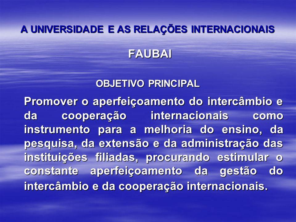 A UNIVERSIDADE E AS RELAÇÕES INTERNACIONAIS FAUBAI FAUBAI OBJETIVO PRINCIPAL Promover o aperfeiçoamento do intercâmbio e da cooperação internacionais como instrumento para a melhoria do ensino, da pesquisa, da extensão e da administração das instituições filiadas, procurando estimular o constante aperfeiçoamento da gestão do intercâmbio e da cooperação internacionais.